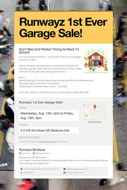 Runwayz 1st Ever Garage Sale!