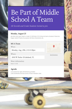 Be Part of Middle School A Team