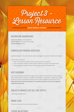 Project 3 - Lesson Resource