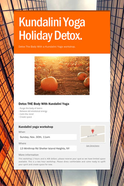 Kundalini Yoga Holiday Detox.