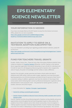 EPS Elementary Science Newsletter