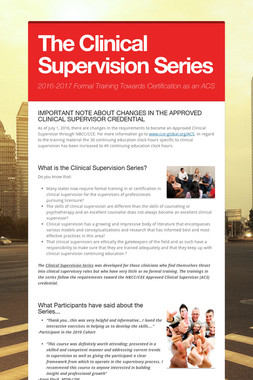 The Clinical Supervision Series
