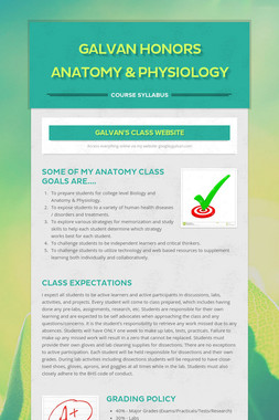 Galvan Honors Anatomy & Physiology