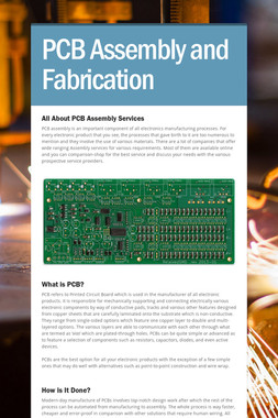 PCB Assembly and Fabrication