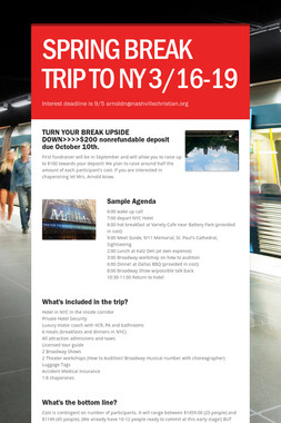 SPRING BREAK TRIP TO NY 3/16-19