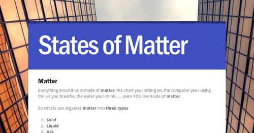 States of Matter | Smore Newsletters