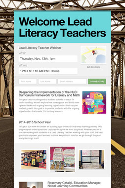 Welcome Lead Literacy Teachers