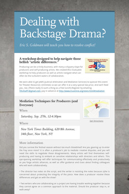 Dealing with Backstage Drama?