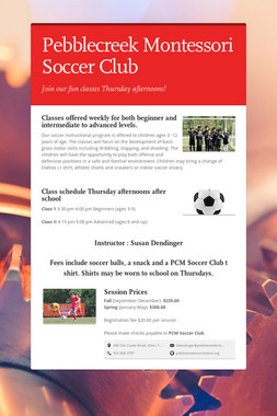 Pebblecreek Montessori Soccer Club