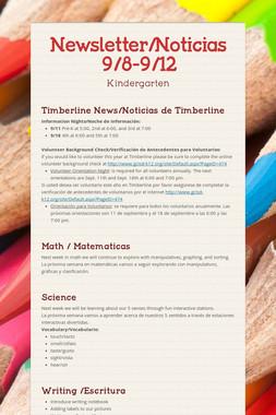 Newsletter/Noticias 9/8-9/12