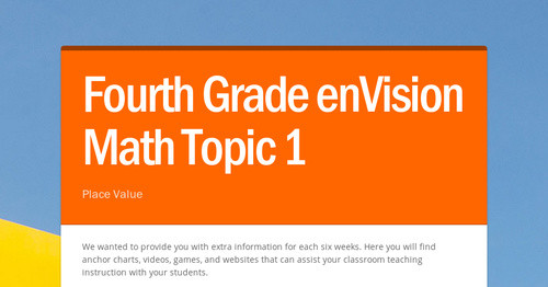 Fourth Grade enVision Math Topic 1 | Smore Newsletters