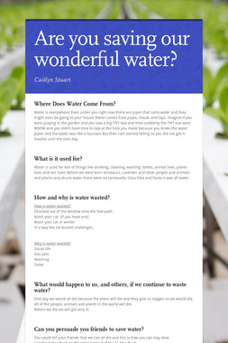 Are you saving our wonderful water?