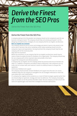 Derive the Finest from the SEO Pros