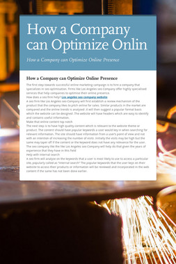 How a Company can Optimize Onlin