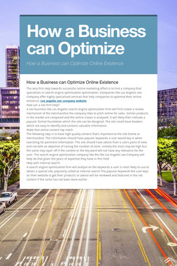 How a Business can Optimize