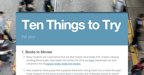 Ten Things to Try | Smore Newsletters