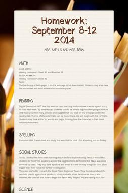Homework: September 8-12 2014
