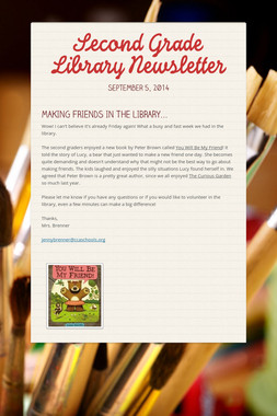 Second Grade Library Newsletter