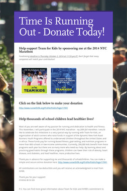 Time Is Running Out - Donate Today!