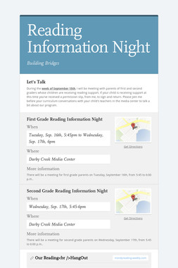 Reading Information Night