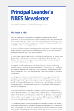 Principal Leander's NBES Newsletter