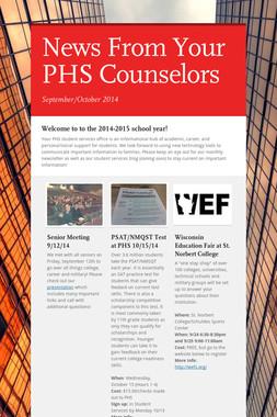 News From Your PHS Counselors