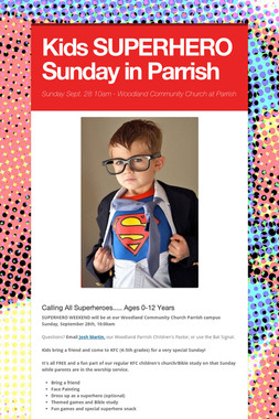 Kids SUPERHERO Sunday in Parrish
