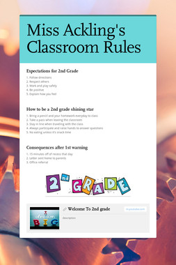 Miss Ackling's Classroom Rules