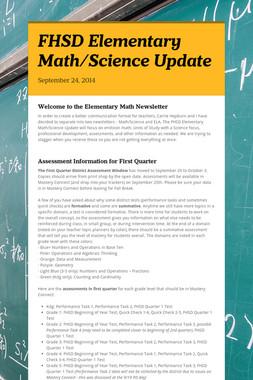 FHSD Elementary Math/Science Update