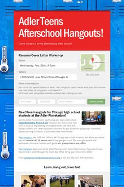Adler Teens Afterschool Hangouts!