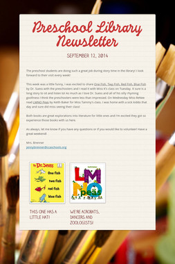Preschool Library Newsletter