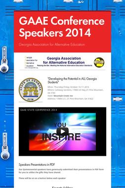 GAAE Conference Speakers 2014