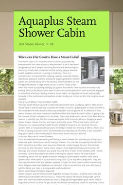 Aquaplus Steam Shower Cabin