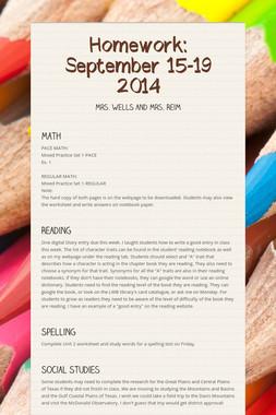 Homework: September 15-19 2014