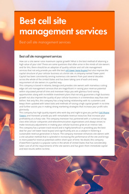 Best cell site management services