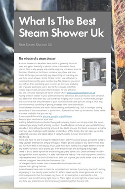 What Is The Best Steam Shower Uk
