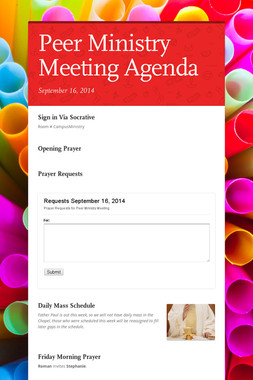 Peer Ministry Meeting Agenda
