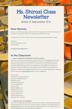 Ms. Shirazi Class Newsletter