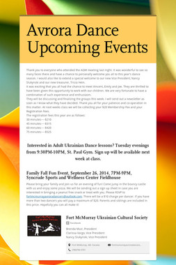 Avrora Dance Upcoming Events