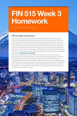FIN 515 Week 3 Homework