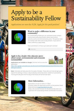 Apply to be a Sustainability Fellow