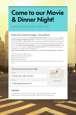 Come to our Movie & Dinner Night!