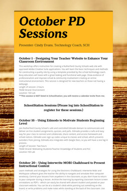 October PD Sessions