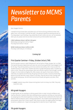 Newsletter to MCMS Parents