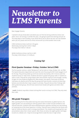 Newsletter to LTMS Parents