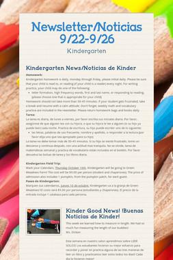 Newsletter/Noticias 9/22-9/26