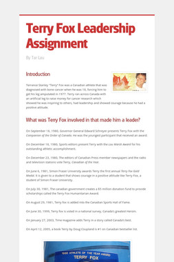 Terry Fox Leadership Assignment