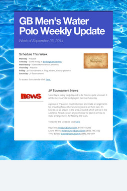 GB Men's Water Polo Weekly Update