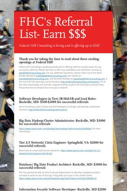 FHC's Referral List- Earn $$$