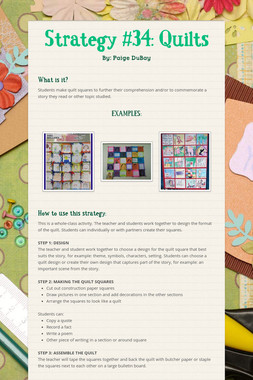 Strategy #34: Quilts